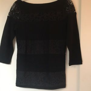 Ann Taylor Black Knotted Lace Wool Sweater XSP